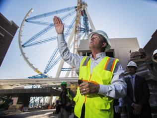 The outer wheel of the 55-storey High Roller ride is scheduled to be hoisted into place today. Picture: AP