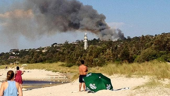 Flames and smoke rise above the trees at McCrae. Picture: Twitter/ @kateinkew