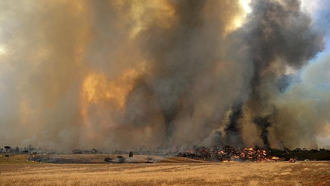 A fire burns near Yaapeet in north-western Victoria. Picture: Jake Nowakowski