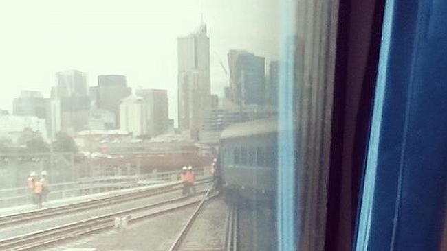 A passenger's view of the derailment. Picture: Twitter/Trasamgrimshaw80
