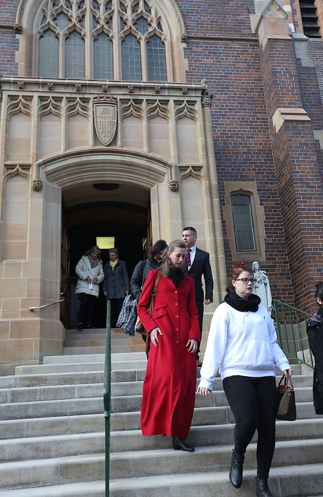 People leave the church after Sister Philomene Tiernan's memorial. Picture: Damian Shaw