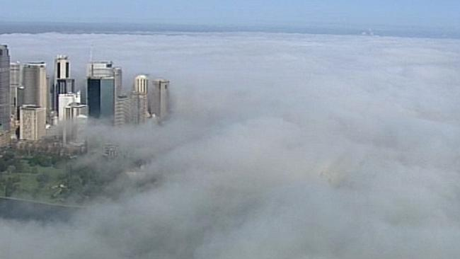 Sydney was blanketed by a cloud of fog this morning. Picture: Twitter @9newsSyd