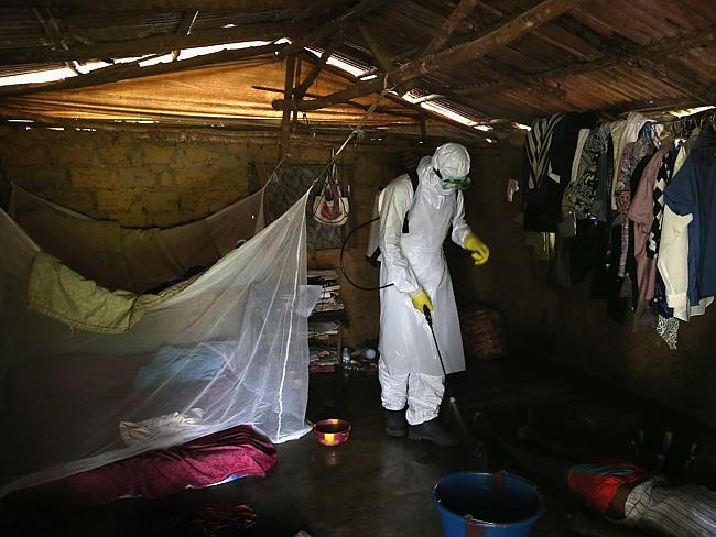 A member of a burial team from the Liberian Red Cross sprays disinfectant over the body o