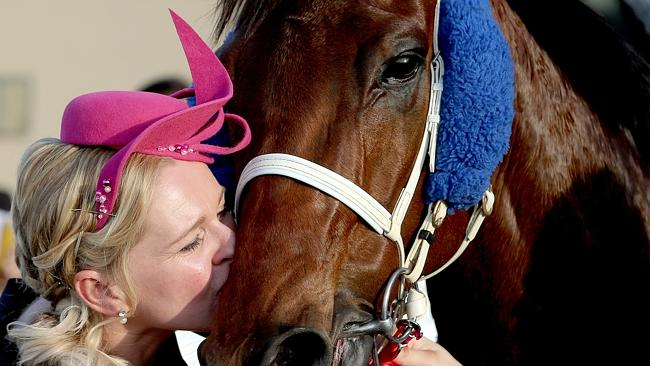 Trainer Natalie McCall with River Lad after he won the Stradbroke Handicap this year. Pic