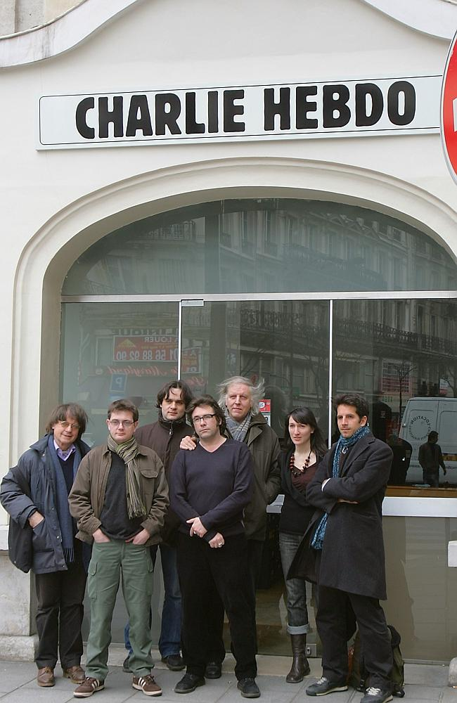 Staff ... members of the French satirical newspaper Charlie Hebdo pictured in 2006, inclu