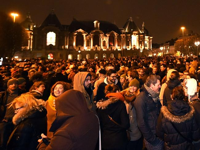 Peaceful rally ... thousands gather in front of the prefecture in Lille, northern France.