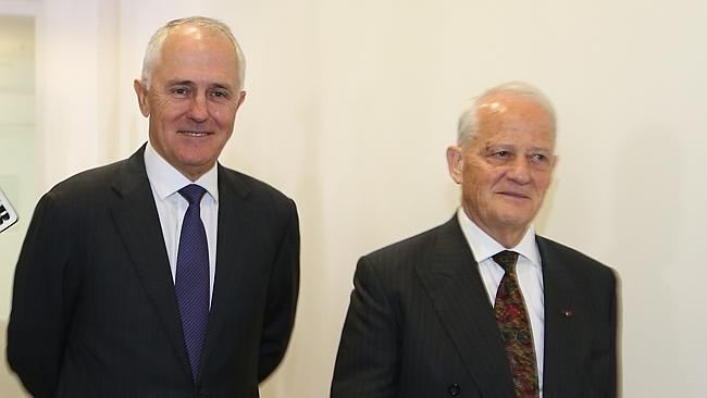 Into the fray ... Malcolm Turnbull and Philip Ruddock walk past the media after the vote