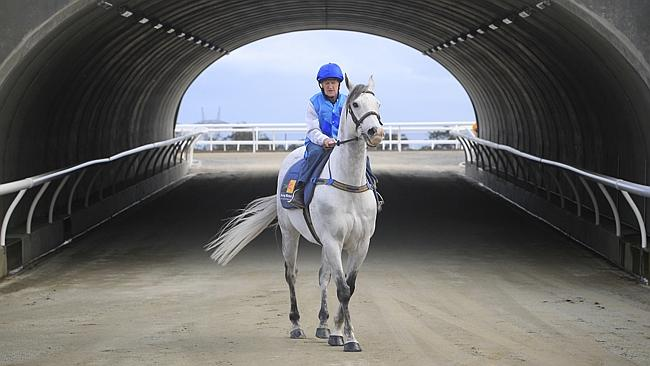 Orange County heads out onto the new Pakenham track for a barrier trial last month.