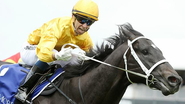 "The ""Magic Man"" Joao Moreira wins the Group 1 Coolmore Stud Stakes last November. Picture"