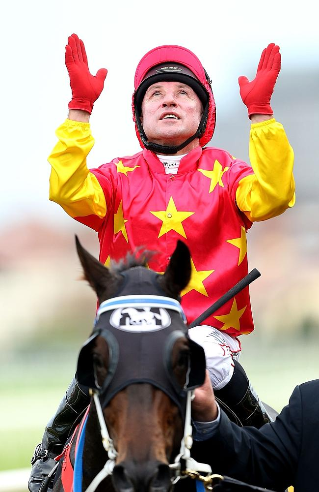 An emotional Jim Cassidy looks to the skies after winning the All Aged Stakes. Picture: G