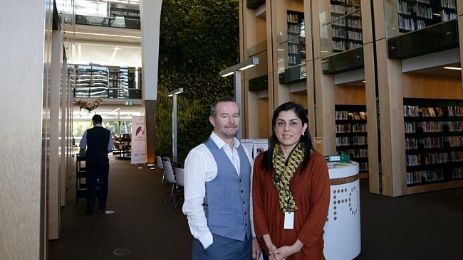 Project Managers James Carey and Ingrid Bascur at Bankstown Library and Knowledge Centre.