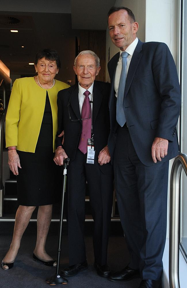Tony Abbott with his parents Fay and Dick at Randwick on Saturday. Picture: Simon Bullard
