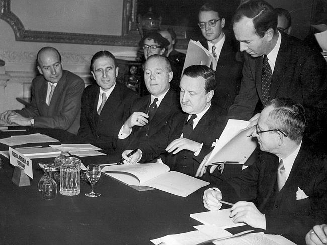 Roles reversed ... In this February 27, 1953 photo, the German Debts Agreement is signed