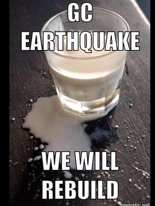 Gold Coast earthquake - the memes started immediately. Photo: Supplied