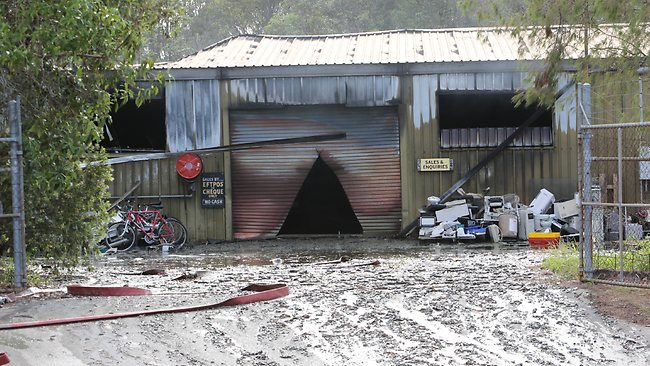 The scene of the fire at Narangba Industrial Estate