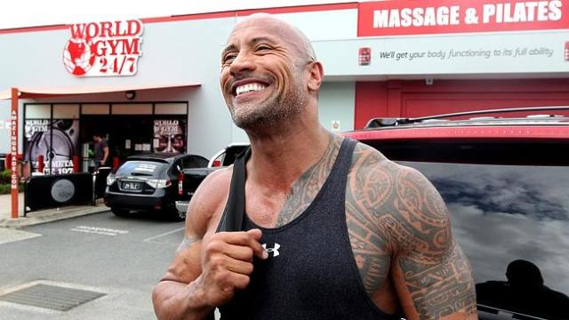 THE Rock has kept up his gym routine while on the Gold Coast. Picture: Richard Gosling.