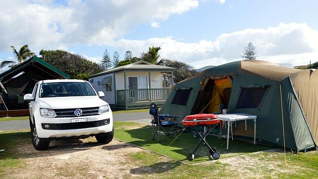 Writer Spida Everitt's family set up at Kingscliff Holiday Park.