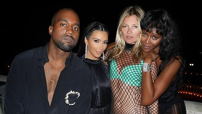 Kanye West, Kim Kardashian, Kate Moss and Naomi Campbell. Picture: Instagram