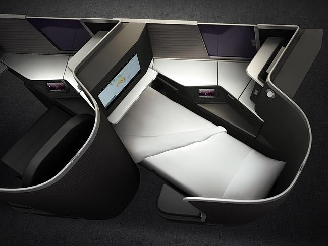 Virgin Australia's new lie-flat business-class seats.