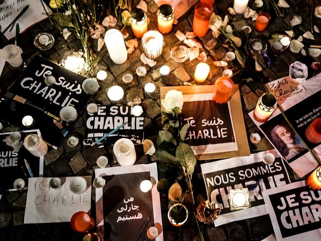 'I am Charlie' is written in various languages at a vigil at the French Embassy in Berlin