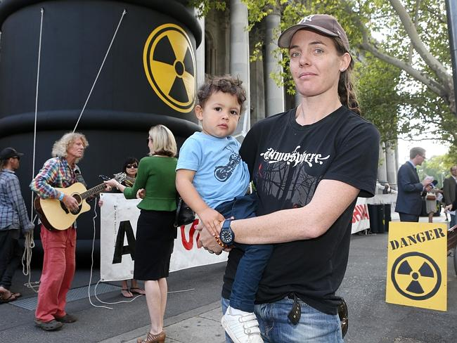 Protesters Frankie (child) and Clare Brown at the remember Fukushima Protest on the steps