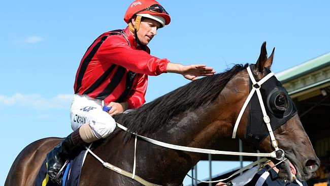 Hugh Bowman pats Laser Hawk after returning to scale. Picture: Peter Lorimer
