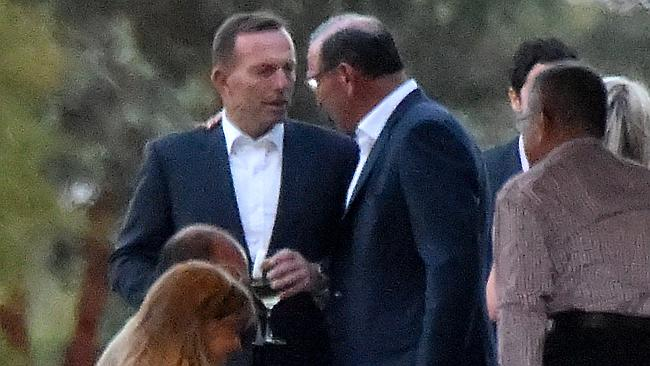 Mining magnate Paul Marks with Prime Minister Tony Abbott. Picture: TONY GOUGH