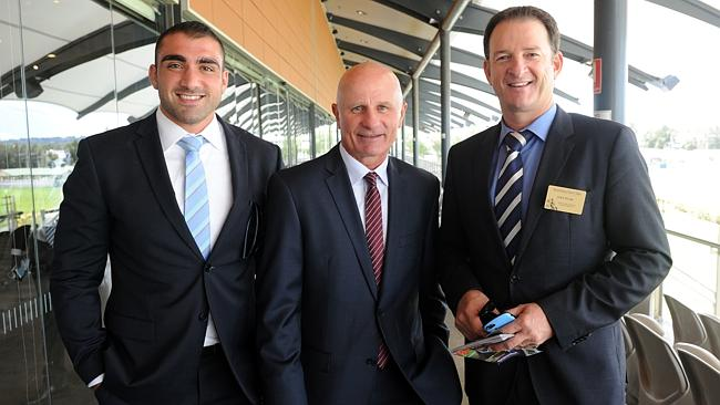 Tim Mannah, Peter Sterling and Mark Waugh at Rosehill on Saturday. Picture: Simon Bullard