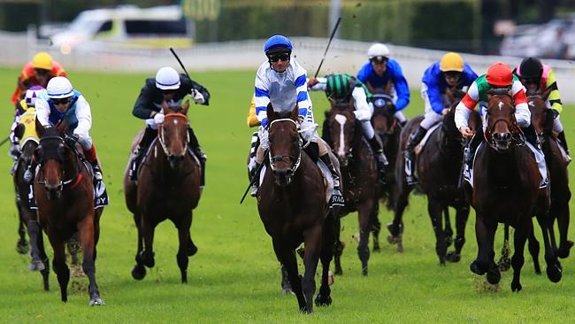 Front and centre: Glen Boss wins the Doncaster on Kermadec (blue/white silks). Picture: M