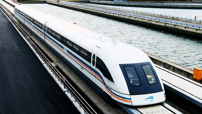 Shanghai's famous Maglev (or magnetic levitation) train which reaches speeds of up to 431