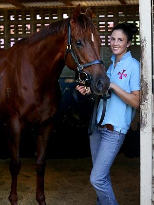 Bianca Gilcrist with Srikandi at Doomben. Picture: Darren England