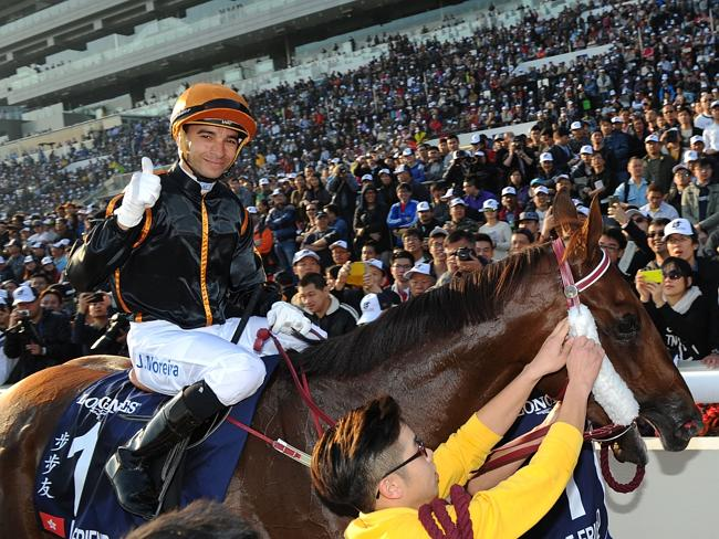 Joao Moreira rode Able Friend to win Race 7, The Longines Hong Kong Mile on December 14,