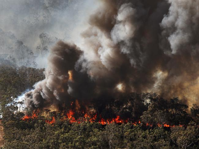 Fire burns out of control in the Windsor Downs Nature Reserve.