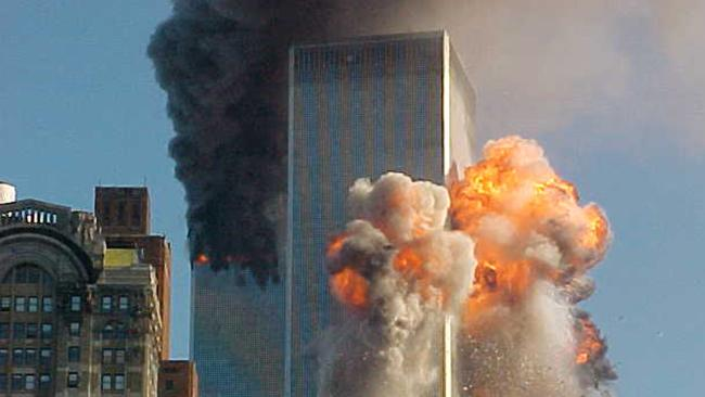 Moment of impact: the south tower is hit