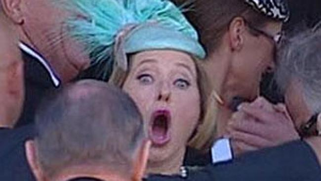 Reaction ... The cashed-up trainer's response to her victory was caught on camera. Picture: Seven Network