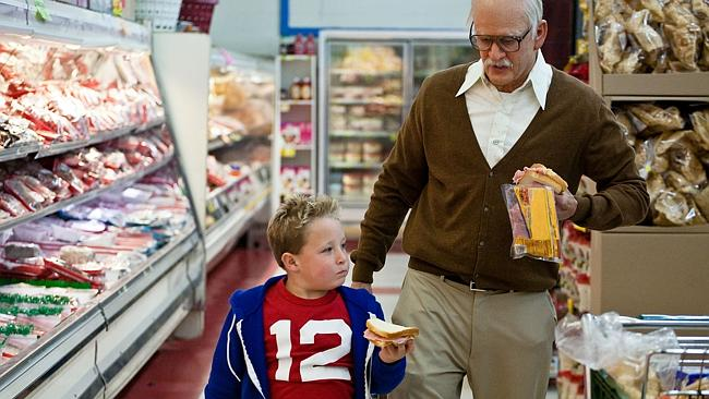 Top of US box office ... Jackson Nicoll, left, as Billy and Johnny Knoxville, in movie