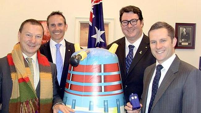 Doctor Who fans in parliament: National MP George Christensen, Labor MPs Andrew Leigh and Graham Perrett and Liberal MP Alex Haw