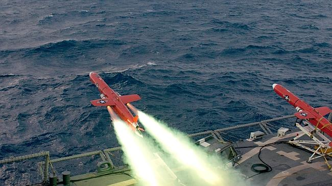 This US Navy handout image shows a BQM-74E drone launches from the flight deck of the Oliver Hazard Perry-class guided-missile f