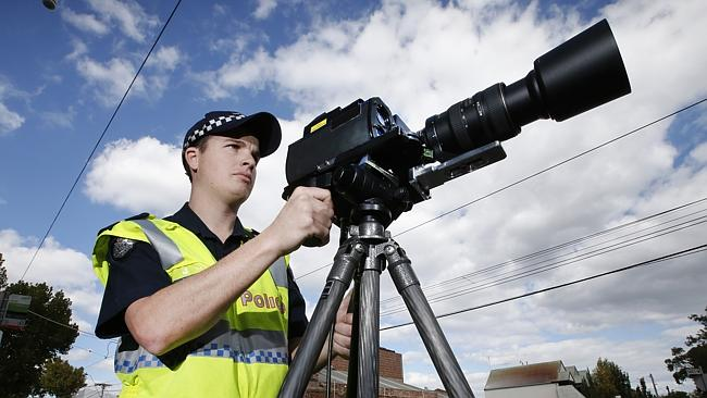 Victoria Police with the new cameras in action in Prahran. Picture: David Caird