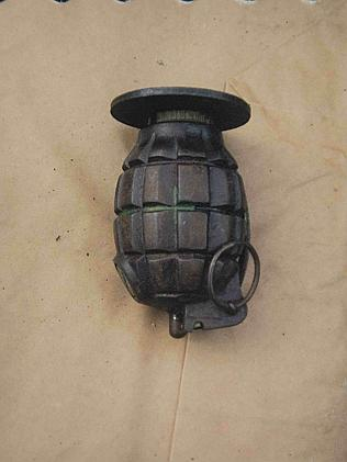 A recovered hand grenade.
