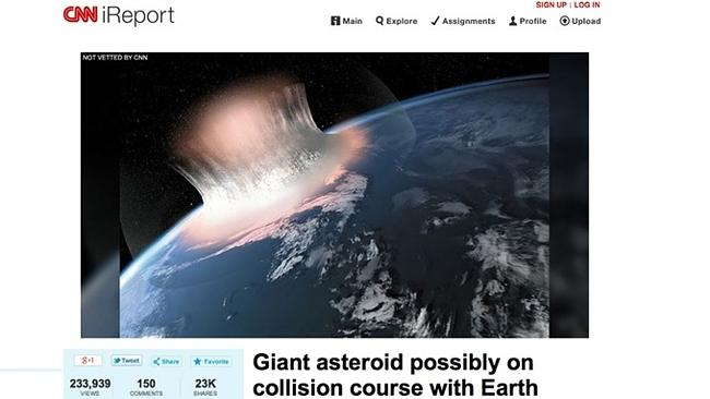 A screenshot taken of CNN's iReport section, which fell victim to a prank that managed to
