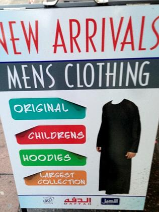 A shopfront sign in Haldon St Lakemba showing Islamic clothing for women / Picture: Adam
