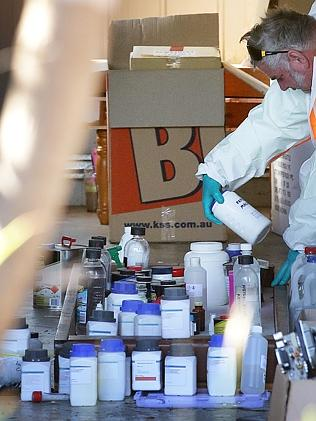 Commercial waste specialists have removed chemicals from a Pullenvale house where bomb-ma