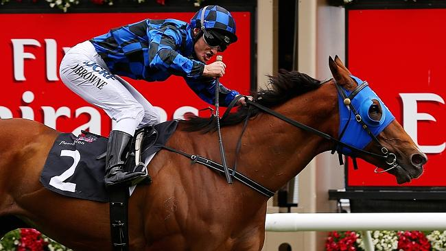 Damian Browne wins the VRC Sprint Classic at Flemington on Buffering. Picture: Colleen Pe