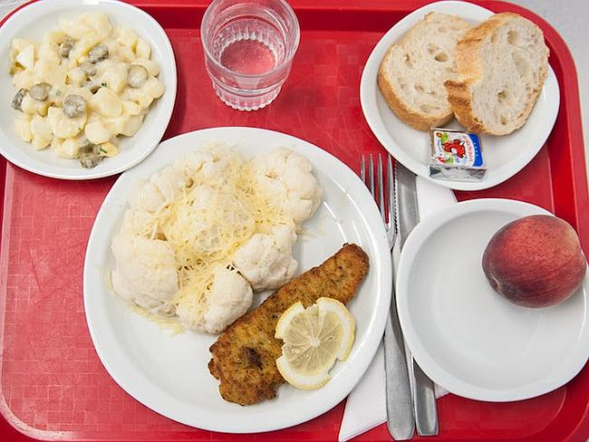 Friday is potato and pickle salad, breaded fish and cauliflower, cheese and a peach. Pict