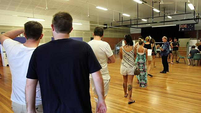 Voting at The Junction Public School polling booth in Newcastle. Picture: Liam Driver