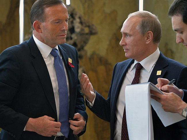 Prime Minister Tony Abbott meets with Russian President Vladimir Putin in Beijing. Pic: A