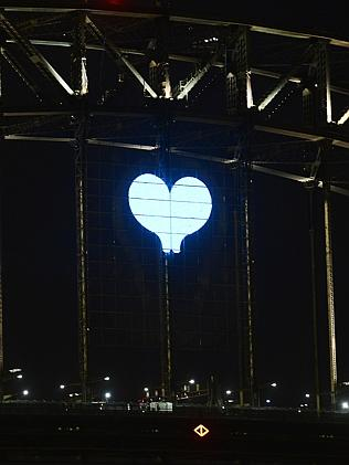 A heart on the bridge during the 9PM fireworks. NYE 2014 . Sydney New years Eve celebrati