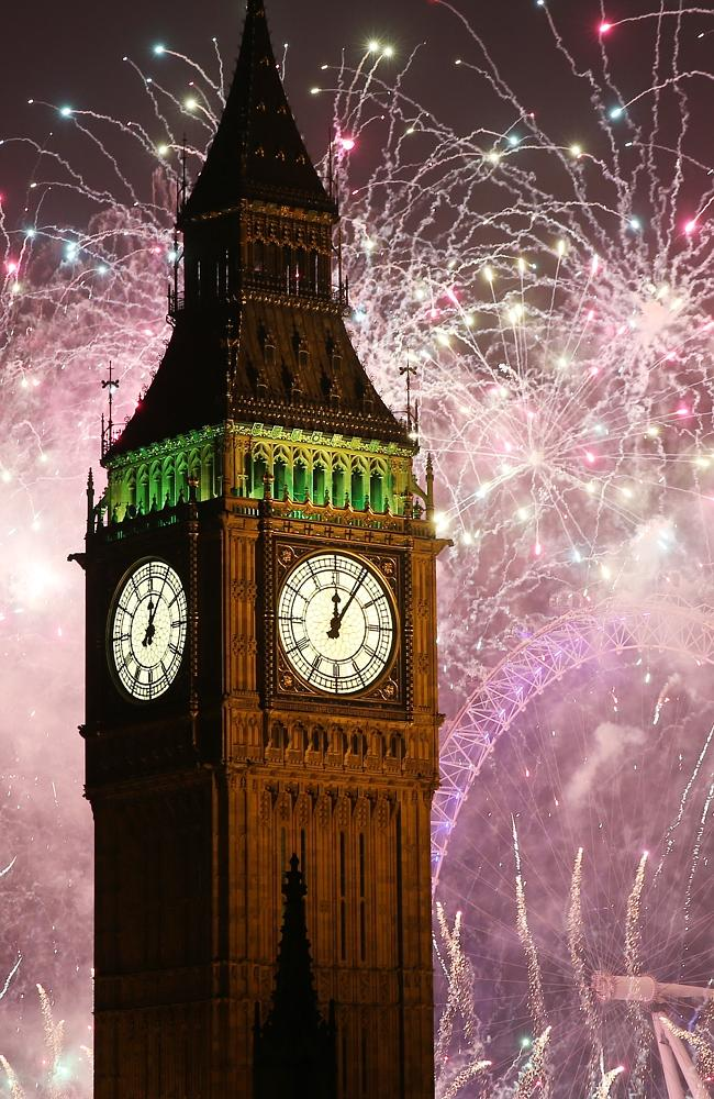 Fireworks light up the London skyline and Big Ben just after midnight on January 1, 2015.