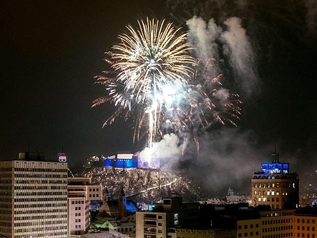 Welcome 2015 ... fireworks above the city centre of Ljubljana, Slovenia.